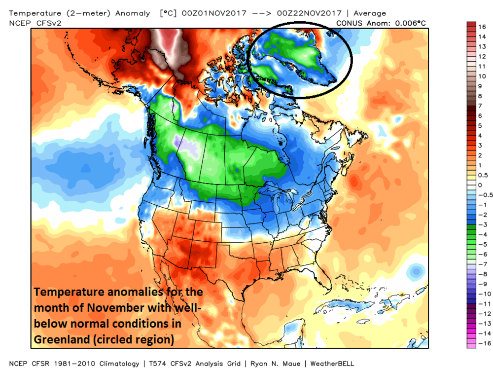 Temperature anomalies for the month of November so far featuring much colder-than-normal conditions in Greenland (circled); map courtesy Weather Bell Analytics