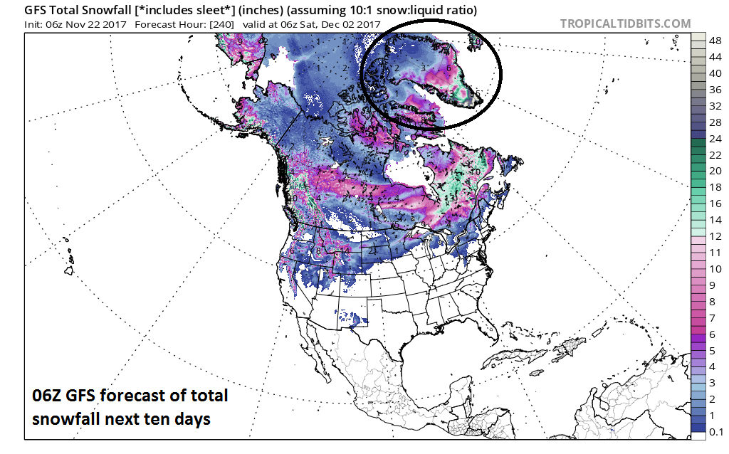 Significant additional snow is expected over Greenland during the next ten days; forecast map courtesy NOAA/EMC/06Z GFS