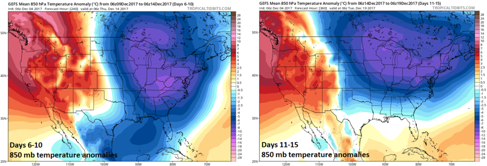06Z GEFS forecasts map of 850 mb temperature anomalies for days 6-10 (left) and days 11-15 (right) with sustained cold in the Midwest, Mid-Atlantic and Northeast US; maps courtesy tropicaltidbits.com, NOAA/EMC