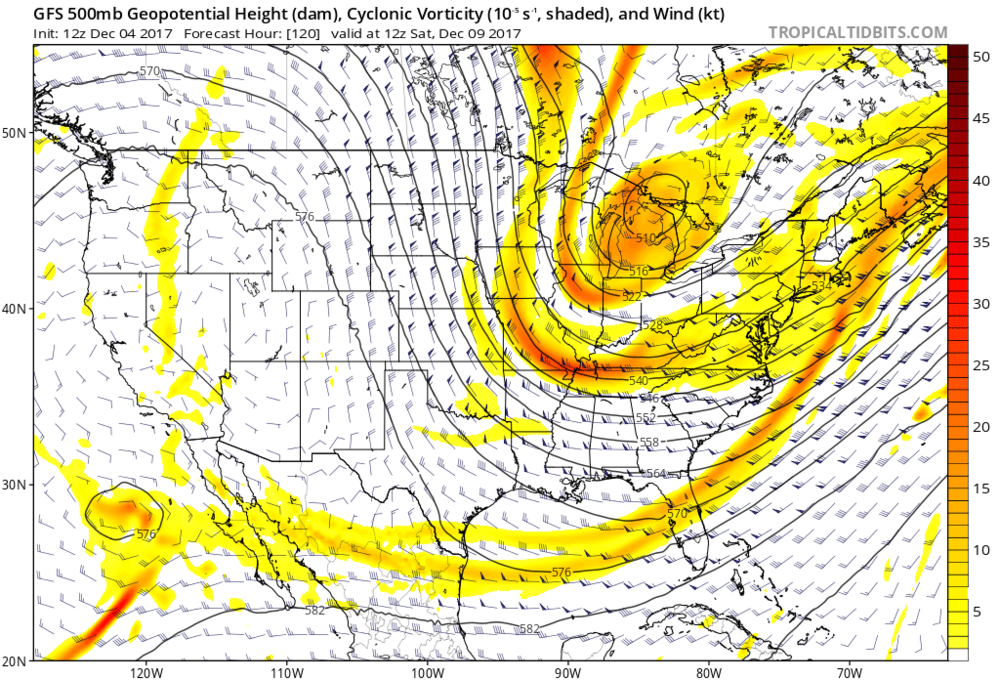 12Z operational GFS forecast map of 500 mb pattern as of Saturday, December 9th featuring strong energy dropping southeastward across the Great Lakes; map courtesy tropicaltidbits.com, NOAA/EMC