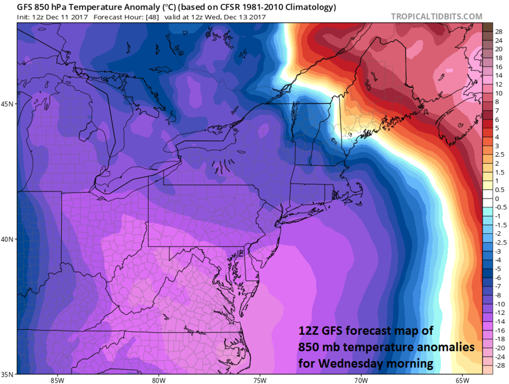 Very cold air heads into the Mid-Atlantic region by mid-week and the cold will be accompanied by very strong NW winds (i.e., much lower wind chills); map courtesy NOAA/EMC, tropicaltidbits.com