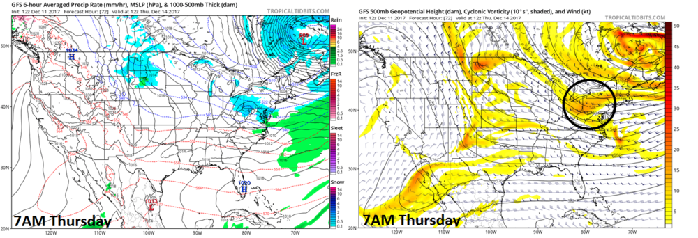 12Z GFS surface forecast map (left) and 500 mb forecast map (right) for Thursday morning; map courtesy NOAA/EMC, tropicaltidbits.com
