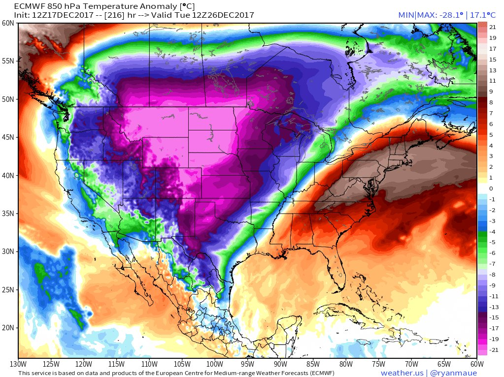Yesterday's 12Z Euro model forecast map of 850 temperature anomalies for next Tuesday, December 26th with brutal cold across the Northern Plains; map courtesy weather.us (Dr. Ryan Maue)