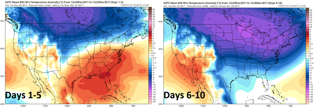 12Z GEFS forecast map of 850 mb temperature anomalies averaged over 5-day periods (days 1-5 left; days 6-10 right) with a big change to colder-than-normal in the Mid-Atlantic region; maps courtesy tropicaltidbits.com, NOAA/EMC