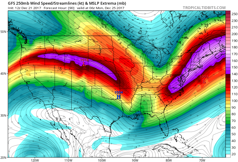 12Z GFS forecast map of upper-level (250 mb) winds as of late Sunday night featuring a strong jet-streak in the Mid-Atlantic/Northeast US. This jet streak will help induce the formation of strong low pressure near the Mid-Atlantic coastline late Sunday. Map courtesy NOAA/EMC, tropicaltidbits.com