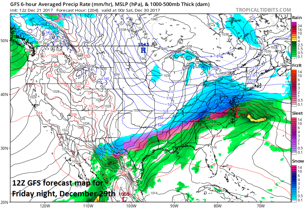 12Z GFS forecast map of surface conditions for Friday night, December 29th with low pressure near the Mid-Atlantic coastline and snow (in blue) in much of the Mid-Atlantic/Northeast US.