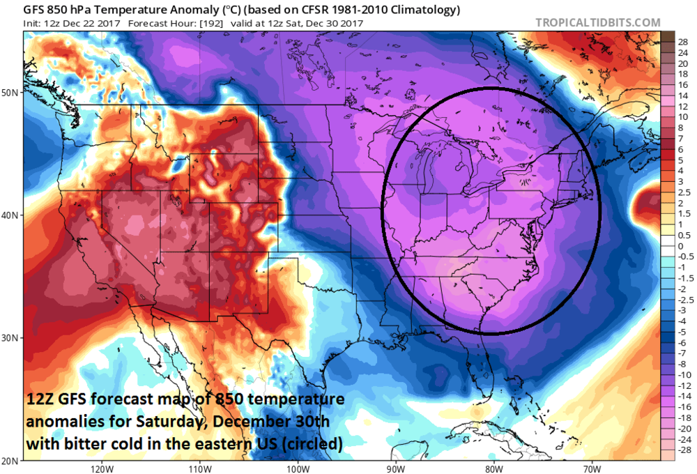 12Z GFS forecast map of 850 mb temperature anomalies for Saturday, December 30th featuring potential brutal cold in much of the eastern US; map courtesy NOAA/EMC, tropicaltidbits.com