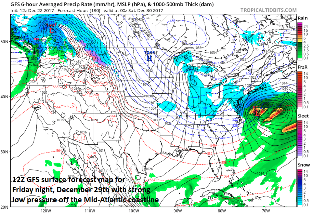12Z GFS surface forecast map for late Friday night, December 29th with strong low pressure off the Mid-Atlantic coastline and expansive high pressure extending from the Northern Plains to southeastern Canada; map courtesy NOAA/EMC, tropicaltidbits.com