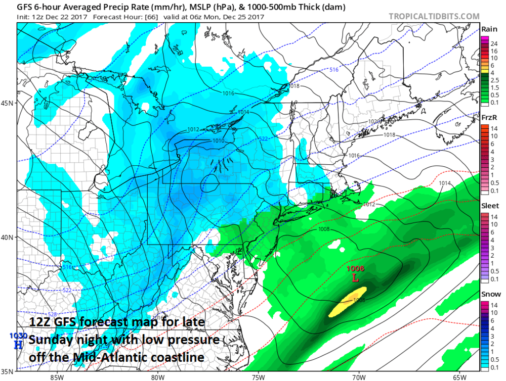 12Z GFS surface forecast map for late Sunday night with low pressure off the Mid-Atlantic coastline; map courtesy NOAA/EMC, tropicaltidbits.com