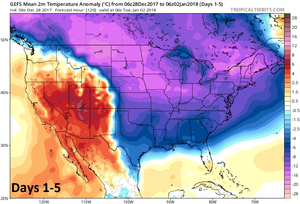 2-meter temperature anomalies averaged over 5-day period (days 1-5); courtesy NOAA/EMC, tropicaltidbits.com