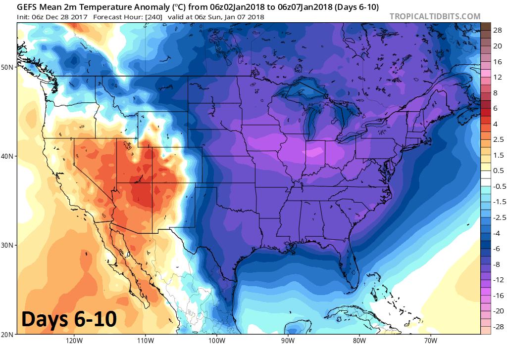 2-meter temperature anomalies averaged over 5-day period (days 6-10); courtesy NOAA/EMC, tropicaltidbits.com