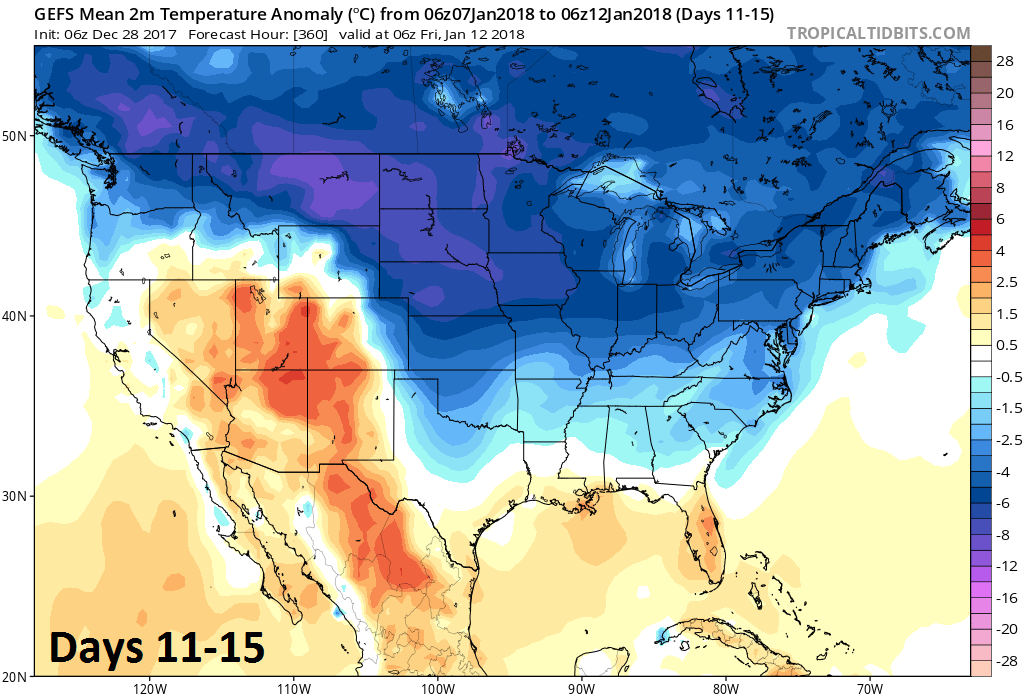 2-meter temperature anomalies averaged over 5-day period (days 11-15); courtesy NOAA/EMC, tropicaltidbits.com