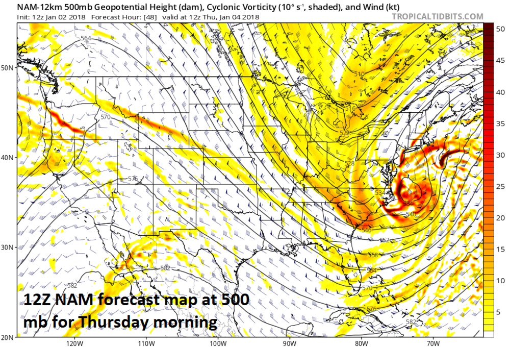 """12Z NAM forecast map at 500 mb for Thursday morning with """"phasing"""" together of upper-level energy just off the Mid-Atlantic coastline. Any quicker """"phasing"""" of these systems could shift the significant snow axis to the west for the upcoming storm system. Map courtesy NOAA/EMC, tropicaltidbits.com"""