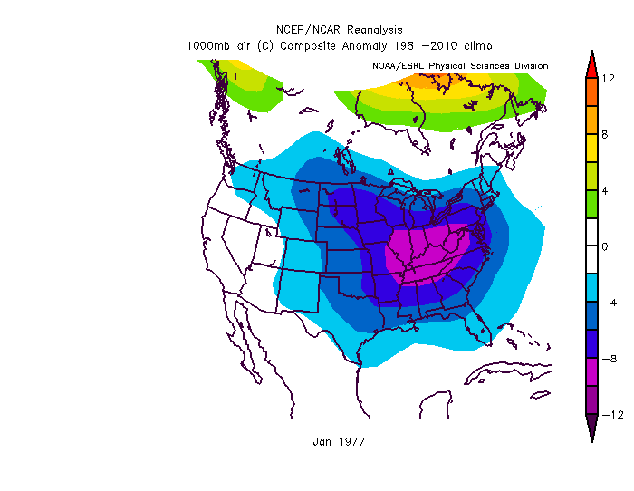 January 1977 was a very cold month across the eastern two-thirds of the nation. There are many similarities to this current extended cold wave including the same areal extent as before and many of the records broken during the past two mornings were originally set in this particular month. Data courtesy NOAA