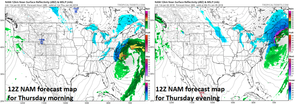 12Z NAM forecast maps for Thursday morning (left) and Thursday evening (right) featuring a rapidly intensifying low pressure system over the western Atlantic Ocean; maps courtesy NOAA/EMC, tropicaltidbits.com
