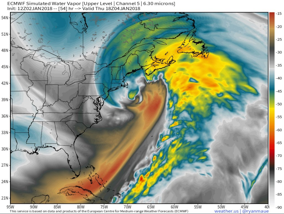 Simulated water vapor image for Thursday afternoon using GOES-16 and Euro computer forecast model data featuring a powerful storm off of New England with hurricane-like winds and strength; map courtesy Dr. Ryan Maue (weather.us), NOAA, ECMWF