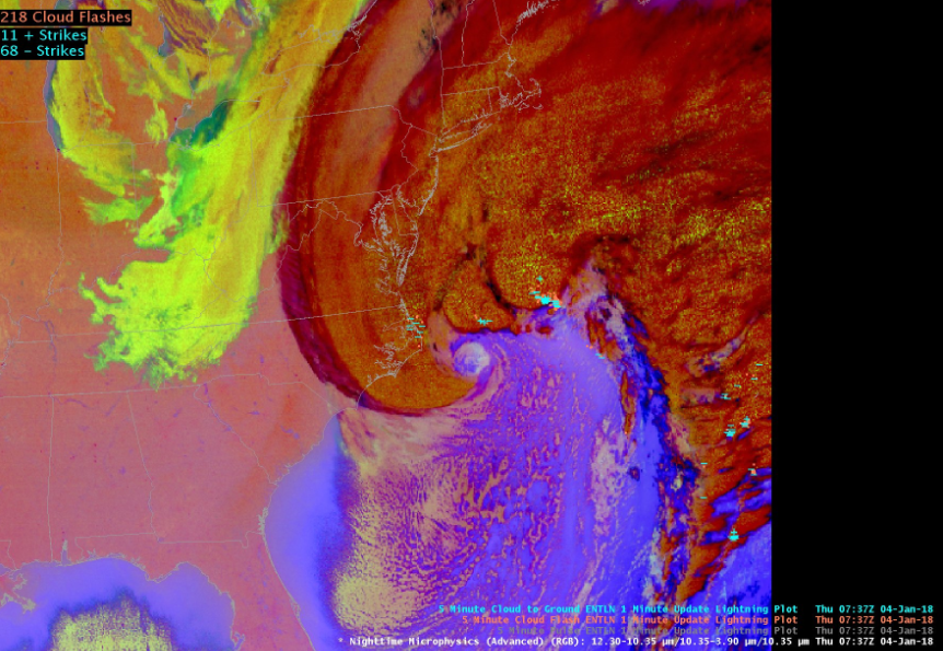 The storm developing an eye is seen in GOES 16 RGB nighttime microphysics imagery.