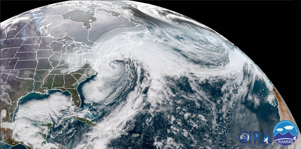 Mid-day look at the powerful western Atlantic storm.