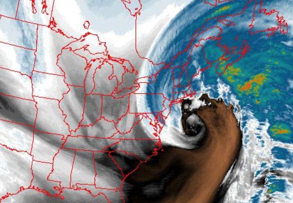 Mid-day colorized water vapor imagery look at the powerful western Atlantic storm.