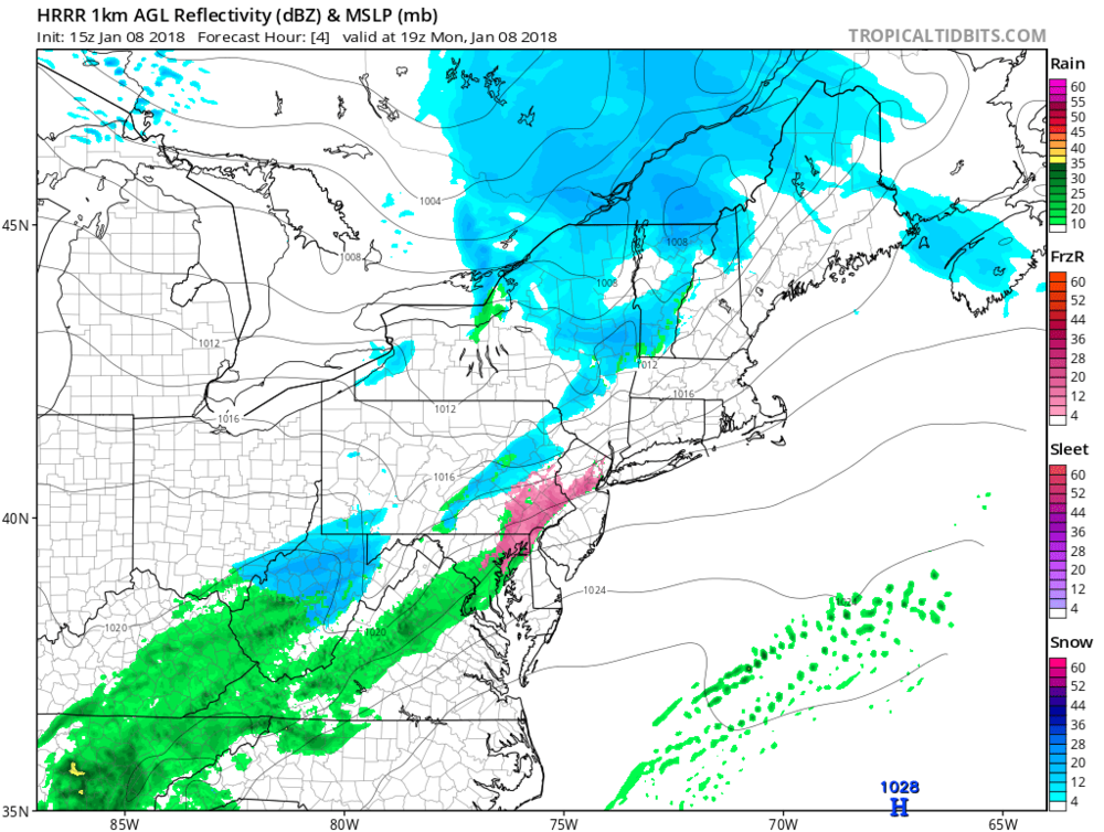 High-resolution model forecast map at 2 PM with ice (i.e., sleet, freezing rain) represented by the pink color and snow is in blue; courtesy NOAA/EMC, tropicaltidbits.com
