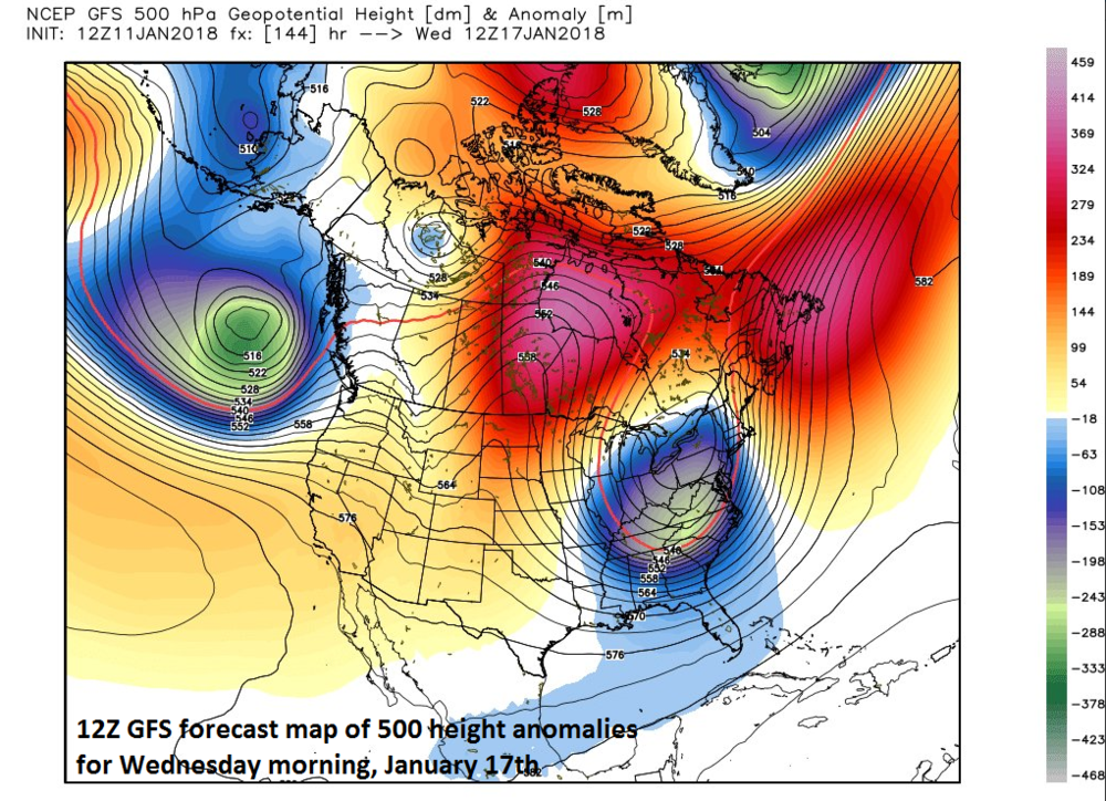 12Z GFS forecast map of 500 mb height anomalies on Wednesday, January 17th featuring an impressive upper-level trough over the Mid-Atlantic region with high pressure ridging west of Hudson Bay; map courtesy NOAA/EMC, Weather Bell Analytics (Joe Bastardi)