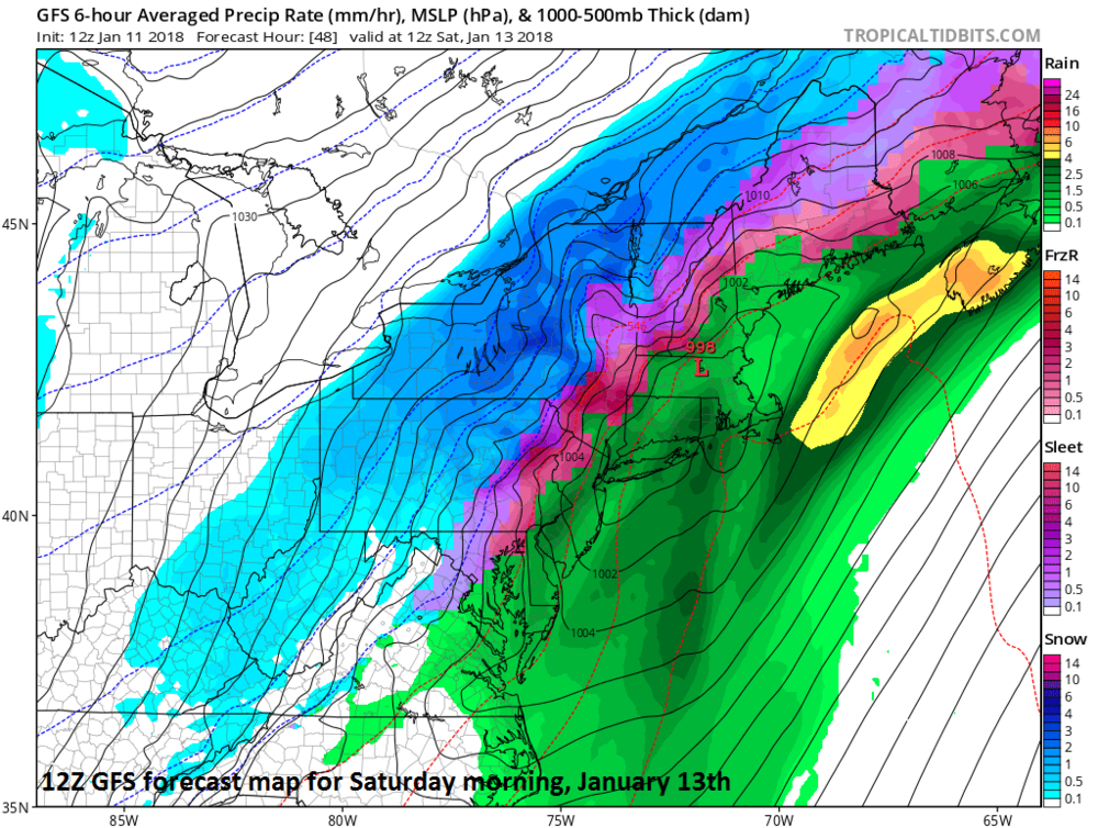 12Z GFS forecast map for Saturday morning, January 13th.  Lots of colors on this map means lots of potential problems...rain (green), sleet/freezing rain (purple, pink), snow (blue); map courtesy NOAA/EMC, tropicaltidbits.com