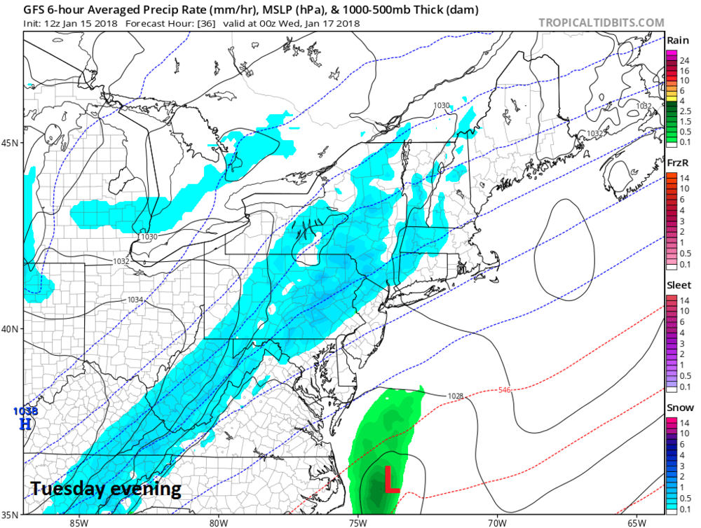 12Z GFS forecast map for Tuesday evening with snow in blue; map courtesy NOAA/EMC, tropicaltidbits.com