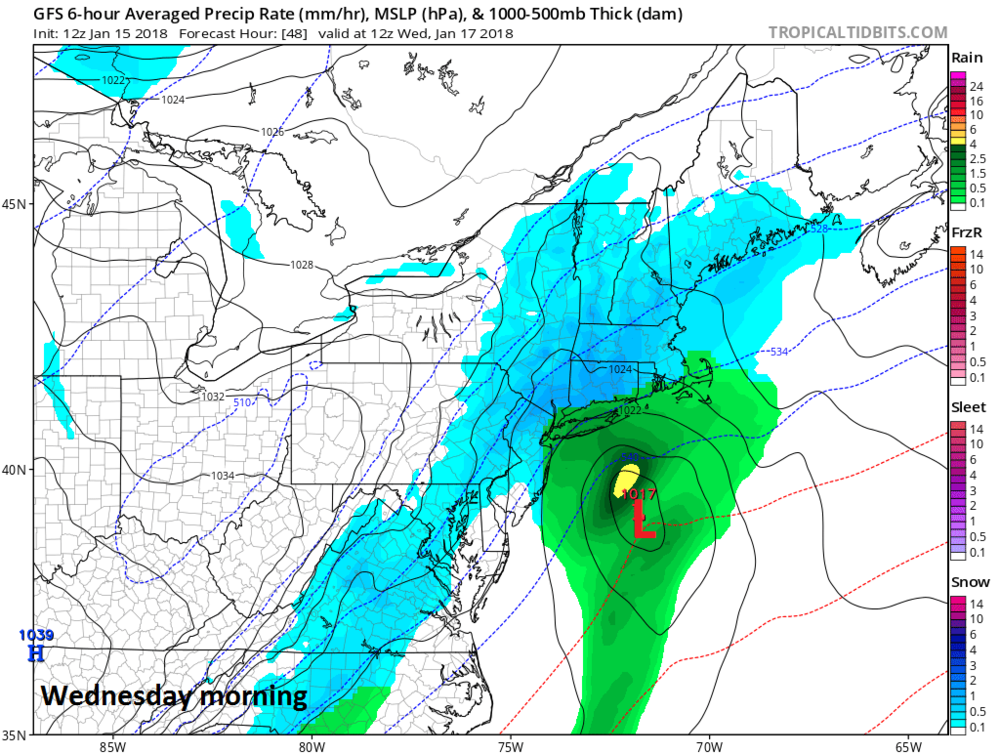 12Z GFS forecast map for Wednesday morning with snow in blue; map courtesy NOAA/EMC, tropicaltidbits.com