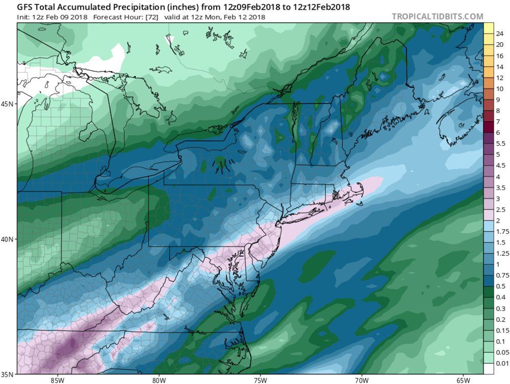 12Z GFS forecast map of total accumulated rainfall as of Monday morning; map courtesy NOAA/EMC, tropicaltidbits.com