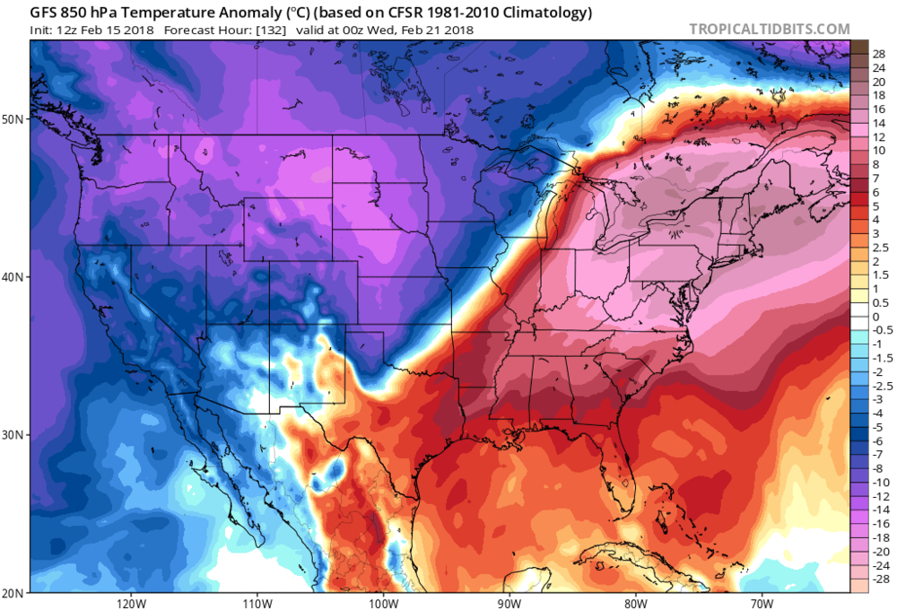 12Z GFS 850 mb temperature anomalies on Tuesday night with a major league warm up coming to the Northeast US; map courtesy NOAA/EMC, tropicaltidbits.com