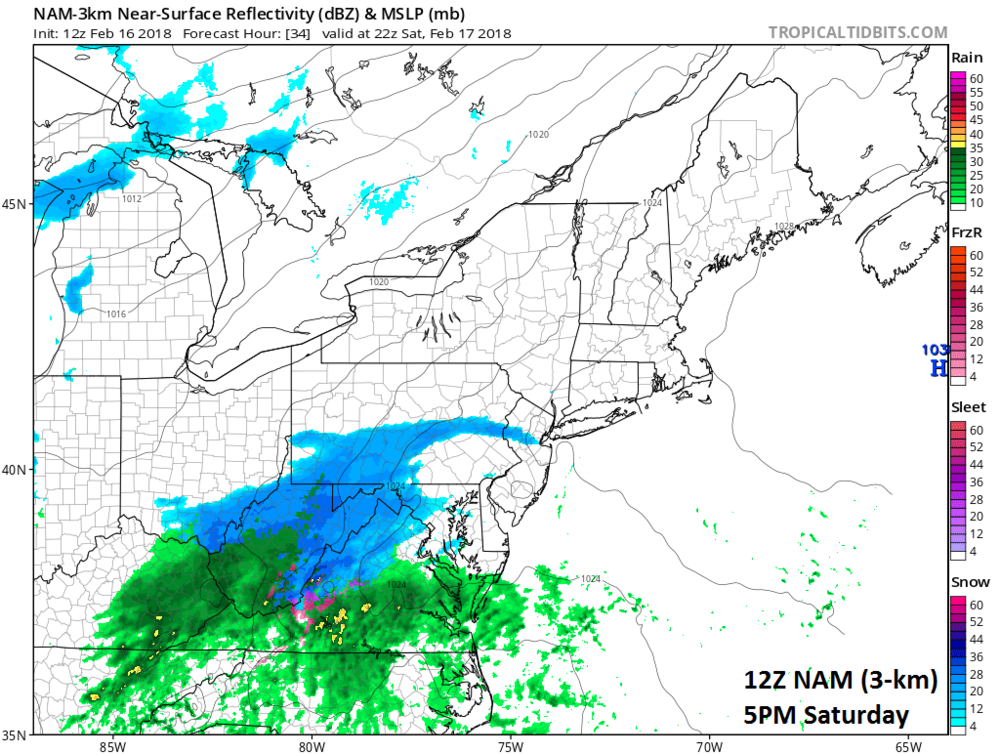 12Z NAM (high-resolution 3-km version) surface forecast map for 5 PM Saturday (snow in blue, rain in green, ice in pink/purple); courtesy NOAA/EMC, tropicaltidbits.com