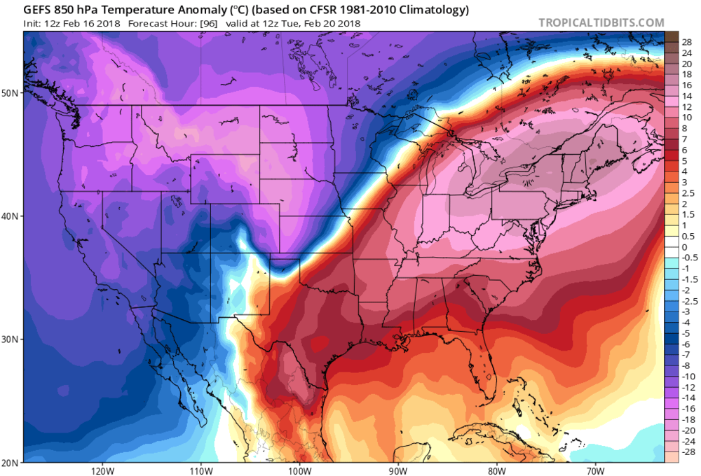 12Z GEFS 850 mb temperature anomalies for Tuesday, February 20th with much warmer-than-normal conditions in the Northeast US; map courtesy NOAA/EMC, tropicaltidbits.com