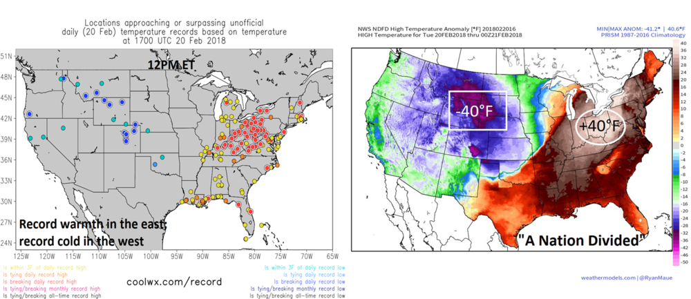 "The nation is divided currently with very cold air relative-to-normal situated across the western states and record-warmth in much of the eastern US.  The noontime map on the left shows many locations with near record or record warmth in the eastern US and several with near record or record cold in the western US (more numerous a few hours ago).  The map on the right shows the extremes relative-to-normal from the west to the east. Maps courtesy coolwx.com (left) and ""weather.us"", Dr. Ryan Maue, (right)."