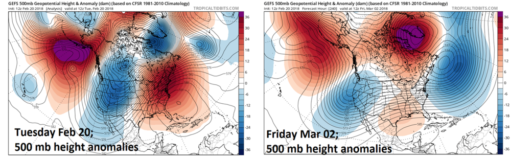 12Z GEFS forecast maps of 500 mb height anomalies for today, February 20th (left) and March 2nd (right). By early March, strong high-latitude blocking will develop over Greenland and a trough of low pressure will begin to retrograde (i.e., move from east-to-west) to a position near the US east coast; courtesy NOAA/EMC, tropicaltidbits.com