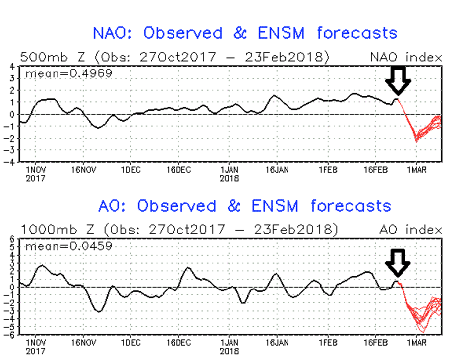 Two indices known as the North Atlantic Oscillation (top) and Arctic Oscillation (bottom) are forecasted (in red) to simultaneously drop sharply into negative territory in coming days which often signals strong high-latitude blocking (arrows show current position); maps courtesy NOAA
