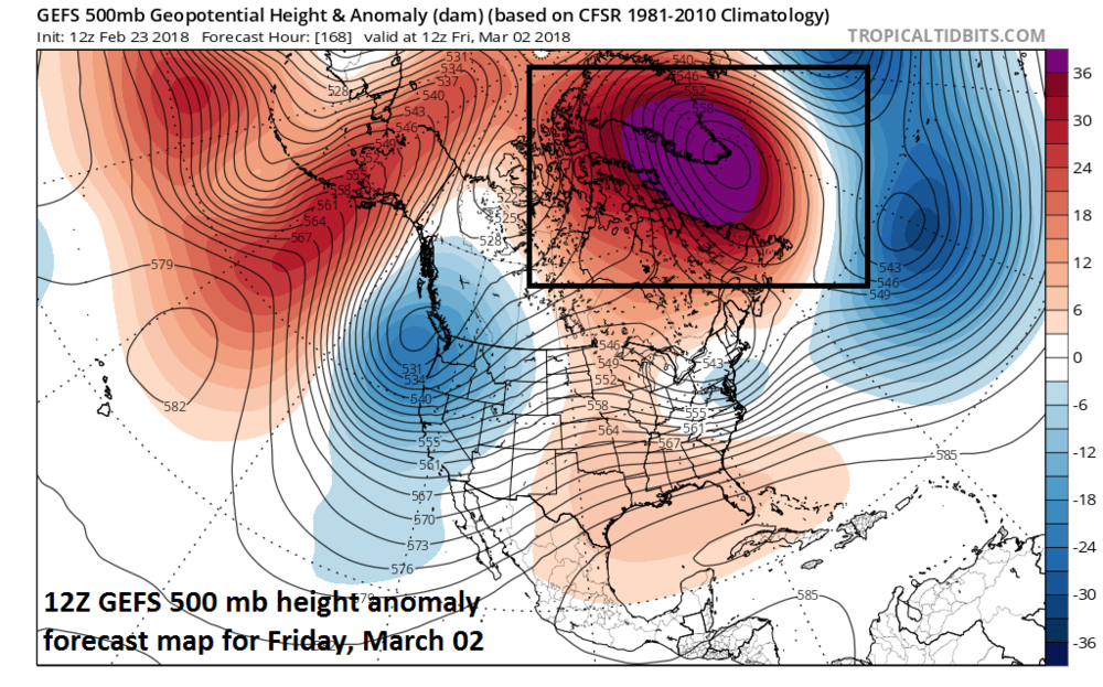 Strong high-latitude blocking pattern sets up by next Friday, March 2nd (boxed region) with abnormally high heights predicted by the 12Z GEFS over Greenland and northeastern Canada; map courtesy NOAA/EMC, tropicaltidbits.com