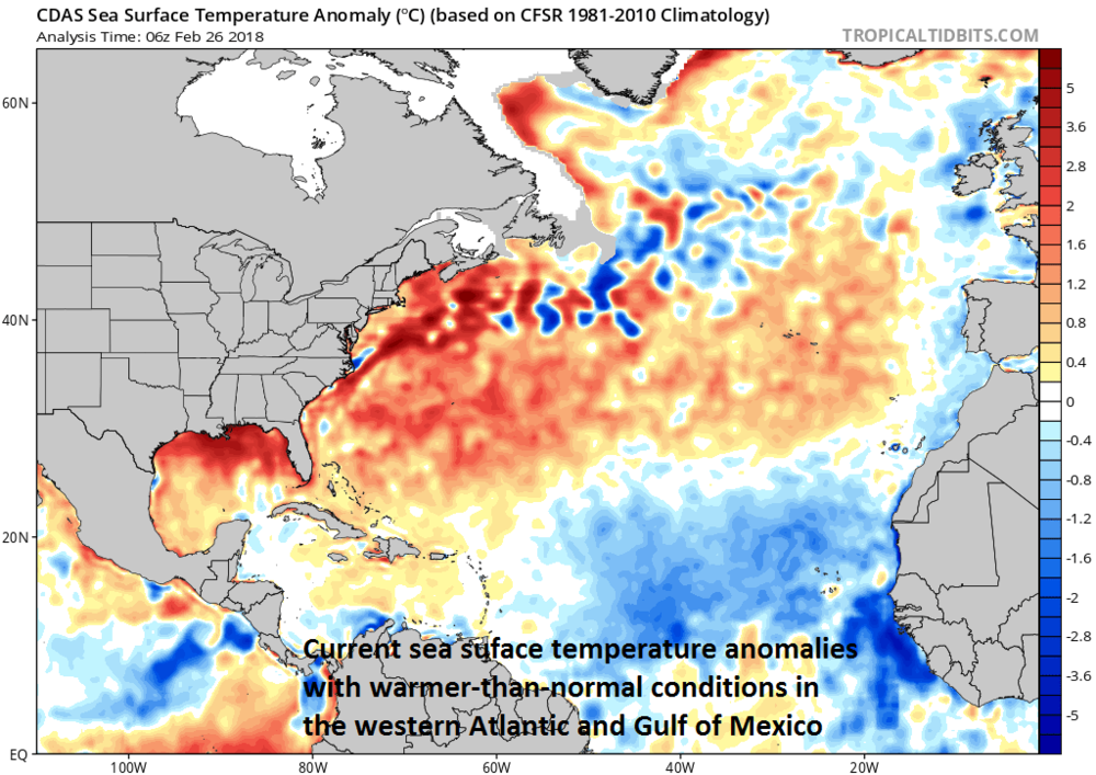 Warmer-than-normal water temperatures exist in the Gulf of Mexico and western Atlantic Ocean and will likely contribute to a stormy period; map courtesy NOAA, tropicaltidbits.com