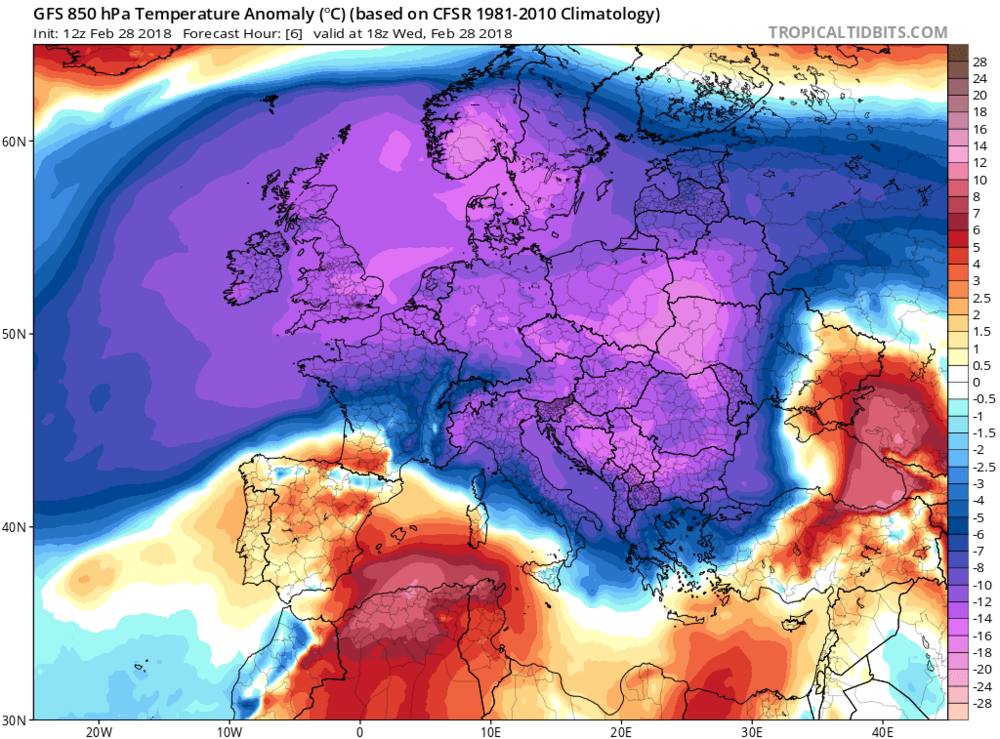 Extreme cold currently grips the continent of Europe (shown 12Z GFS 6-hour forecast map of 850 mb temperature anomalies); courtesy NOAA/EMC, tropicaltidbits.com