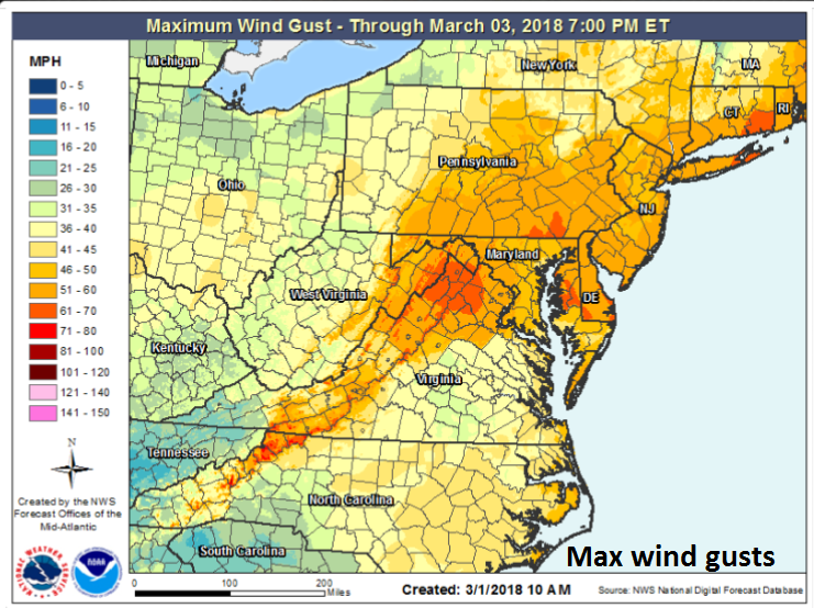 Maximum wind gusts expected for the upcoming major storm with 51-60 mph in the DC-to-Philly-to-NYC corridor; source NOAA