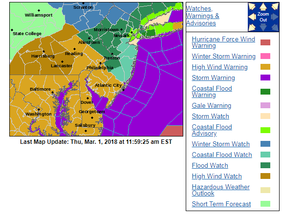 NOAA's National Weather Service (NWS) has issued all kinds of watches/warnings for the Mid-Atlantic region to prepare for the upcoming storm.  On this kind of map, lots of colors is not a good thing. Courtesy NOAA/NWS