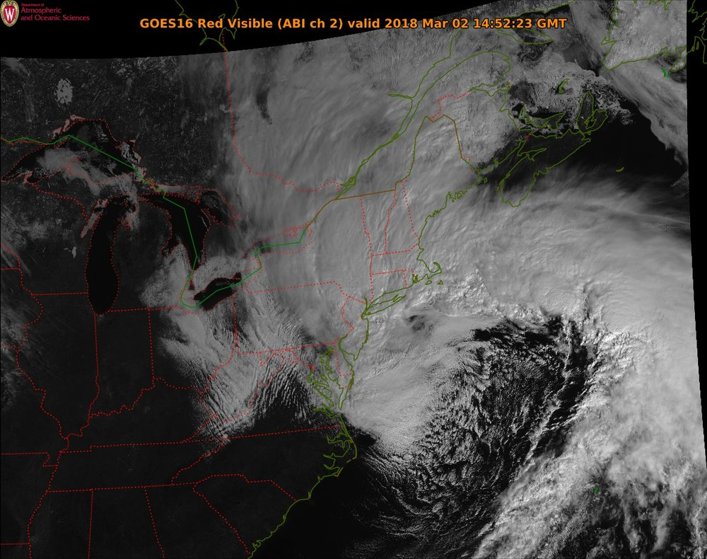 GOES-16 visible satellite image of the powerful ocean storm; courtesy NOAA