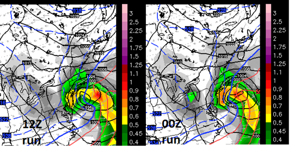 12Z Euro (left) has shifted west from its earlier run (00Z, right) for later Wednesday and this increases the chances for significant snow from Philly-to-Boston. Any additional shift from here could even increase snow accumulation prospects for the DC metro region; maps courtesy WSI, Inc.