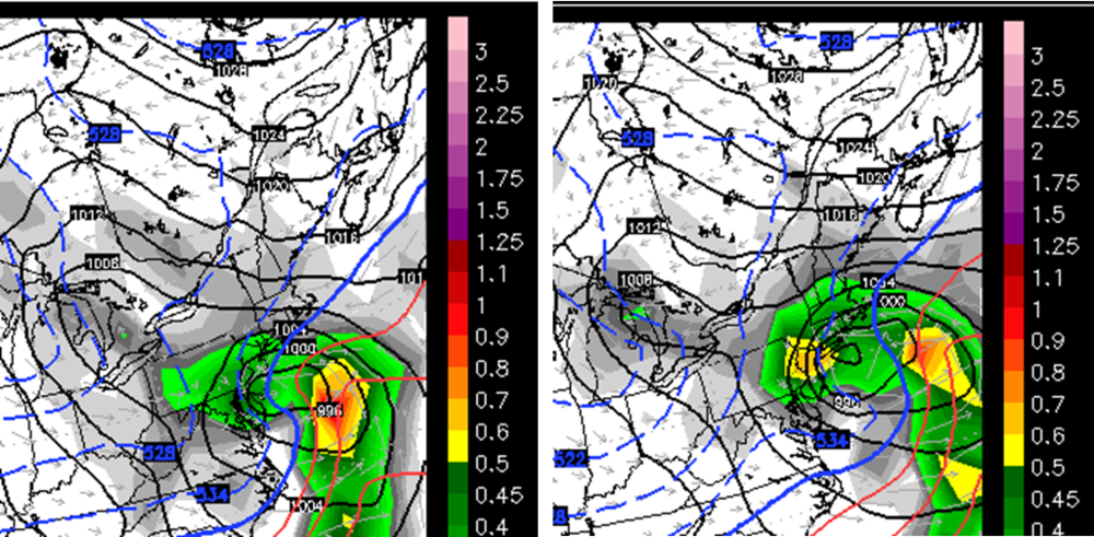 12Z Euro forecast maps for 30 hours (left) and 36 hours (right); courtesy WSI, Inc.
