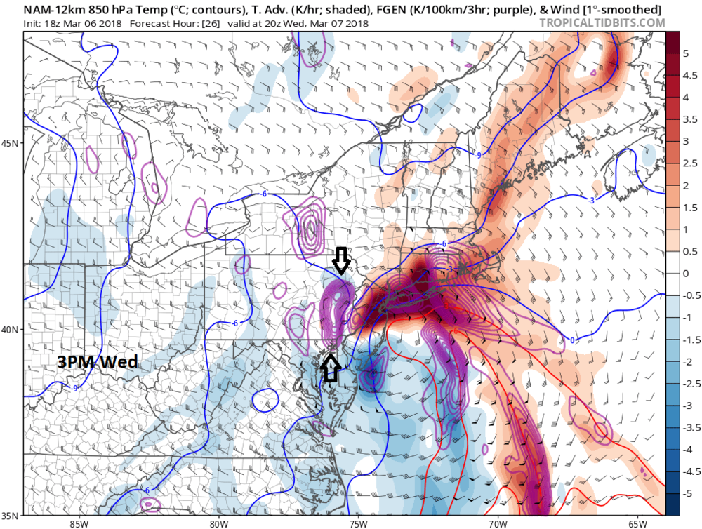 """18Z NAM forecast map for 3pm on Wednesday with tremendous """"frontogenesis"""" at 850 mb which may cause intense snow bands; map courtesy NOAA/EMC, tropicaltidbits.com"""