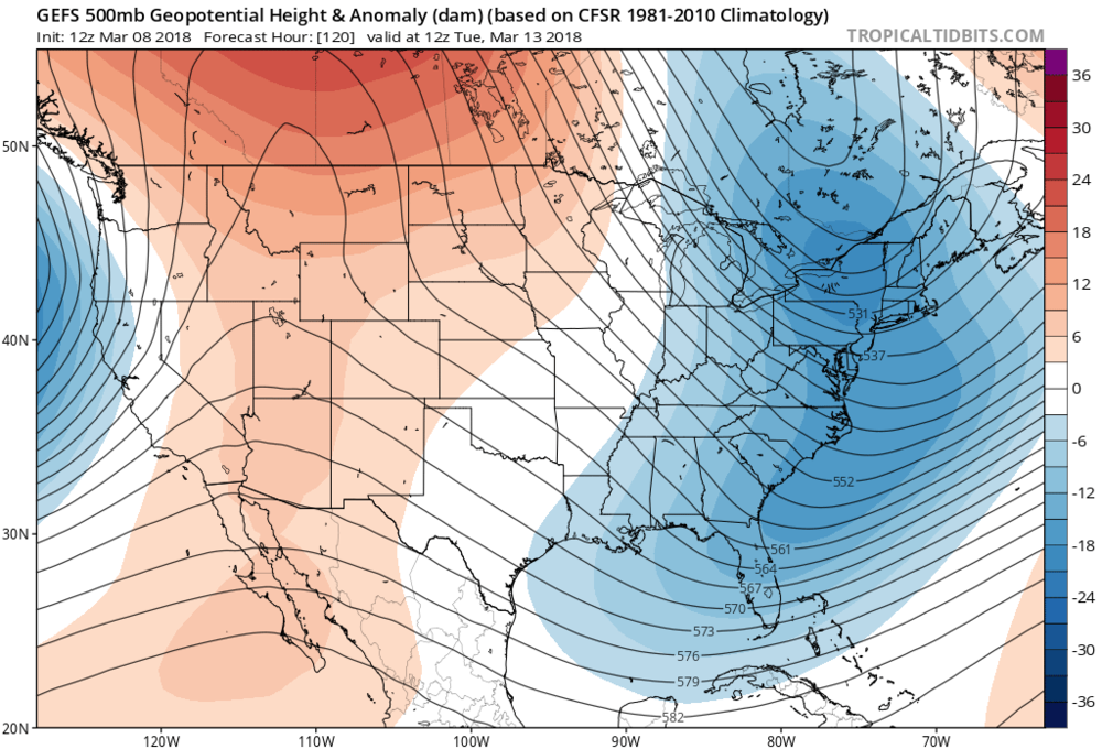 12Z GEFS 500 mb height anomaly forecast map for Tuesday morning with deep upper-level troughing extending all the way up the coast with a negative tilt to the orientation axis; map courtesy NOAA/EMC, tropicaltidbits.com
