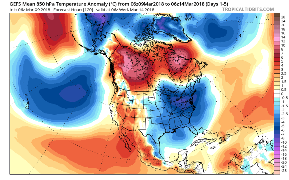 The 06Z GEFS forecast map of 850 mb temperature anomalies averaged over the current five day period with colder-than-normal conditions focused on the Mid-Atlantic region; map courtesy NOAA, tropicaltidbits.com