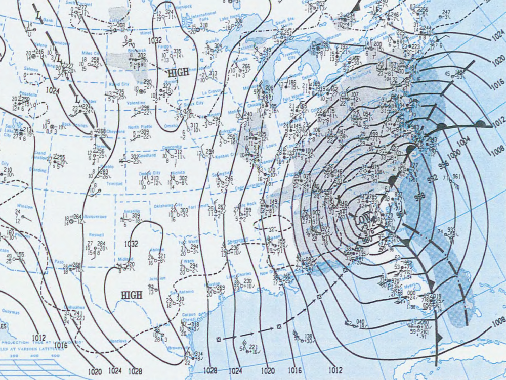 Surface map on the morning of March 13th, 1993 (Source: NOAA)