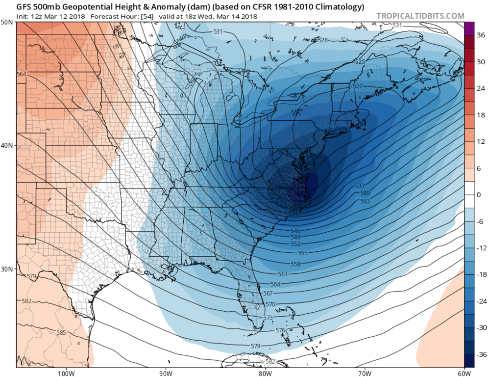12Z GFS forecast map of 500 mb height anomalies on Wednesday afternoon with a deep upper-level trough situated right over the Mid-Atlantic region; map courtesy NOAA/EMC, tropicaltidbits.com