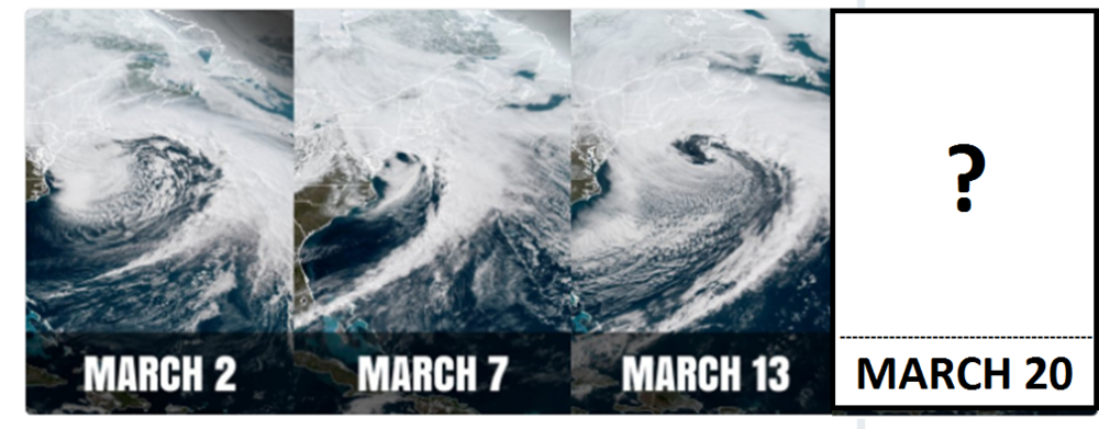 Three nor'easters have occurred this month and there are strong signs for a fourth one next week; images courtesy Weather Optics, NOAA