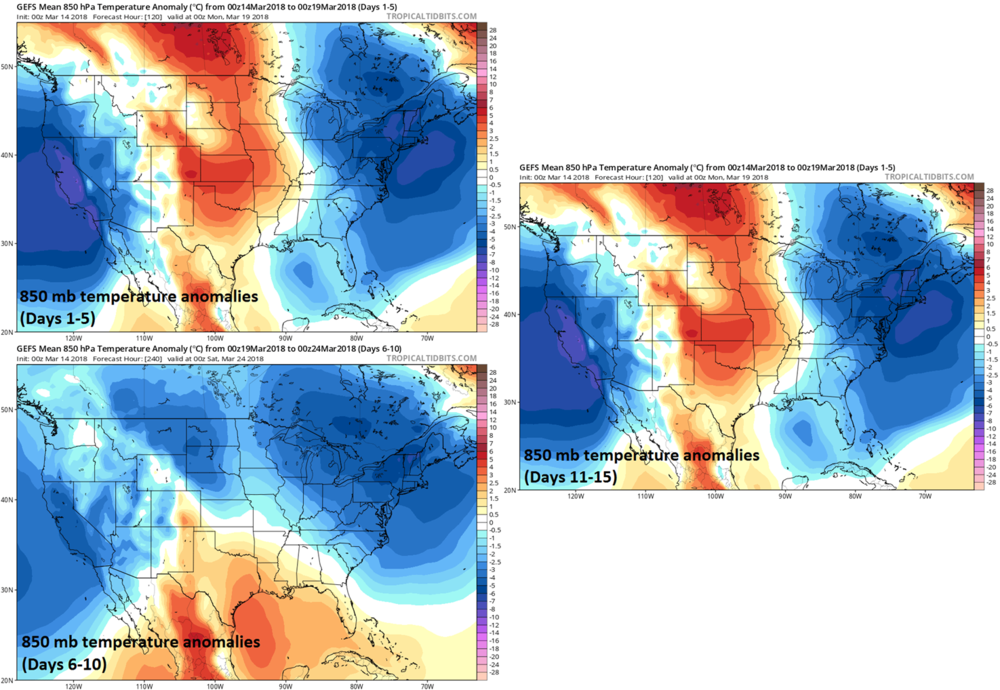 06Z GEFS shows no sign of warmer-than-normal in the Mid-Atlantic/Northeast US during the next 15 days; maps courtesy NOAA/EMC, tropicaltidbits.com